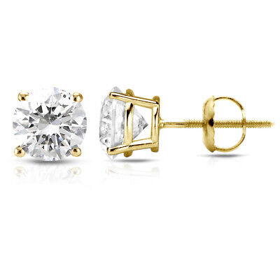 1.05 CT FSI1 Round Cut Natural Diamond Certified Stud Earrings 14K Y/GOLD