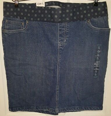 Old Navy Maternity Size L Large 12 14 Denim Low Rise Panel Stretch Skirt NWT