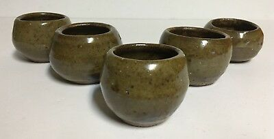 "Lot of 5 Hand Made Studio Art Pottery signed Small Bowls~Green/Brown~3"" x 2 1/2"""