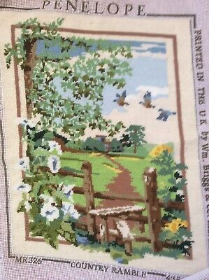 vintage completed Penelope hand stitch embroidery tapestry called country ramble