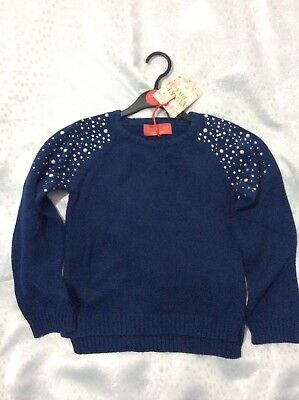 blue ages 3-4 Girls knitted jumper with sparkly shoulders 4-5 NWT 7-8 5-6