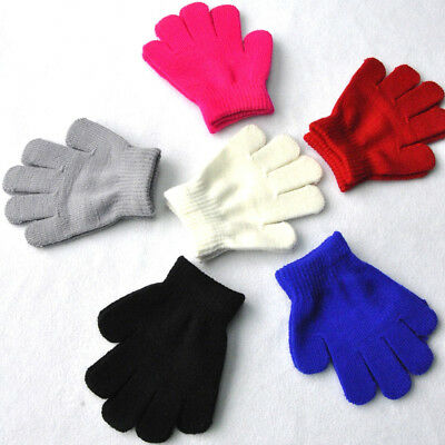3-7T Baby Kids Knitted Stretch Mittens Solid Full Finger  Winter Warm Gloves New