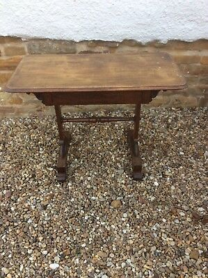 Antique vintage elm side console wall table with hidden drawer.