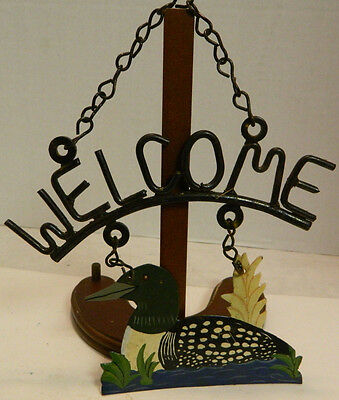 "Vintage Rustic Hand Painted Metal Duck on Water Hanging ""WELCOME"" Sign Excellent"