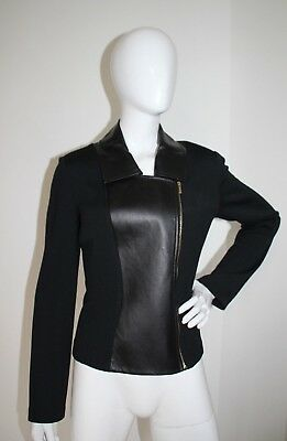 St. John Collection Black Label Leather Sweater Coat Sz 4 Gorgeous!!