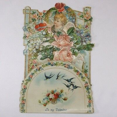 Antique Victorian To my Valentine Cherub Germany Die Cut Fold Out Greeting Card