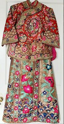 Chinese Wedding Dress 1920  Rare 2- Pc. Silk Embroidery Hand Stitched & Signed