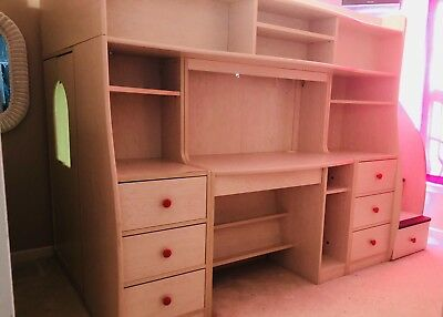 Berg Furniture Play And Study Twin Loft Bed Computer Desk Storage Steps Drawers
