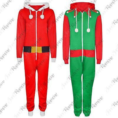 Kids Girls Boys Santa Elf All In One Christmas Jumpsuit Novelty Xmas Playsuit