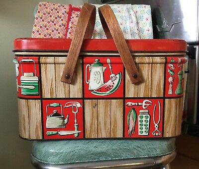 Vintage Decoware Metal Tin Litho Picnic Basket Red Green Tan Wood Handles