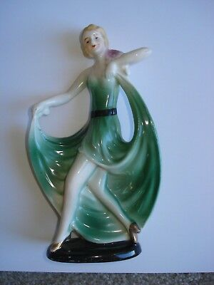 "VINTAGE ART DECO CERAMIC DANCING LADY FIGURINE - 6 1/2"" tall"