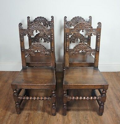 FINE 17thC STYLE SET OF 4 CARVED OAK YORKSHIRE DINING CHAIRS CAROLEAN CHARLES II
