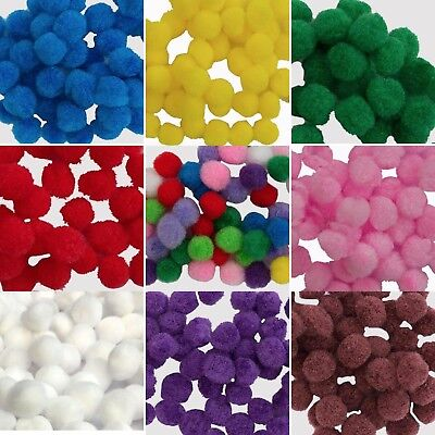 10mm Pom Poms - Mini Fluffy Art Craft Card Making - Many Colours