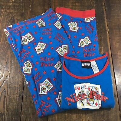 Vintage World Poker Tour Womens Pajamas~2 Piece~Card Graphics~Size Large