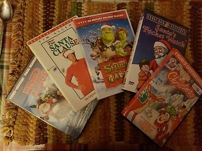 5x Christmas movie Lot. Fred Clause, The Santa Clause, Shrek the Halls, Rudolph