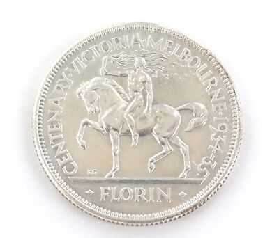 .SUPERB aUNC AUSTRALIAN 1934/35 MELBOURNE CENTENARY FLORIN. GREAT LUSTRE.