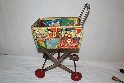 Vintage c.1950 Coca Cola Soda Pop Child's Grocery Store Toy Shopping Cart Sign