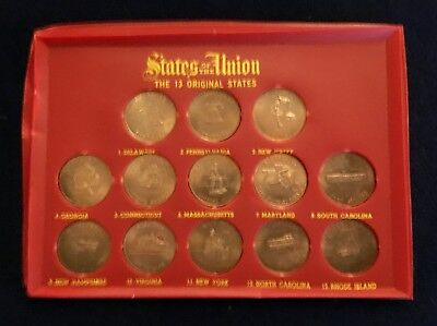 Vintage 1969 Shell Oil 13 Original States Solid Bronze Coins Collector's Set