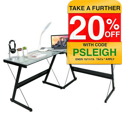 Activiva Solano L-Shaped Computer Desk Home/Office Study/PC Gaming Glass/Steel