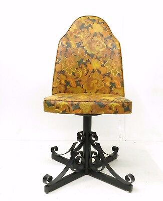 Vintage 70's Funky Retro Floral Vinyl Swivel Wrought Iron Base Dining Chair