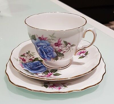 Vintage 1960's 'Royal Vale' Bone China Tea Cup Trio Made in England