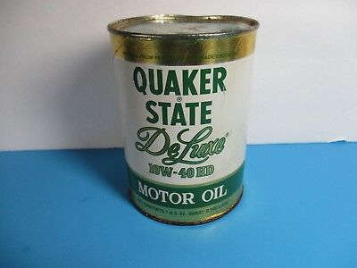 vintage 1981 Quaker state DE Luxe 10W-40HD full 1qt motor oil can