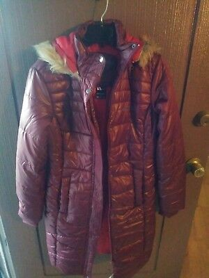 ARCTIX peacock insulate maroon Long coat Jacket with Removable Hood Size S