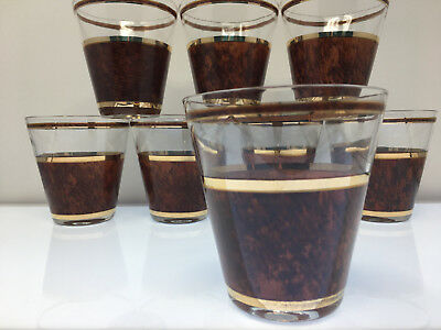 8 Culver tortoise gold and faux leather rocks Old fashioned glasses mid century