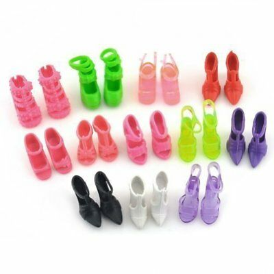 10 Pairs Mixed Different High Heel Shoes Boots for Barbie Doll Dresses Clothes
