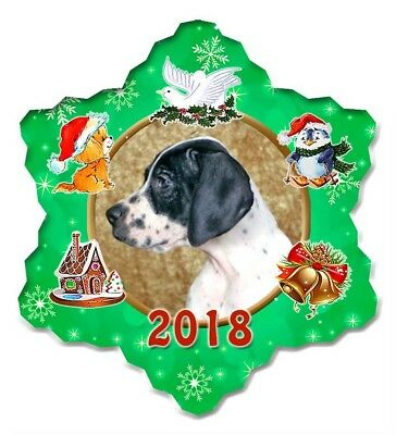 Pointer Porcelain Christmas Holiday Ornament - 2018