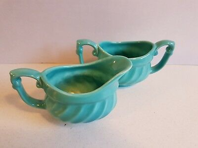 Vintage Aqua Turquoise USA Pottery 519 Cream and Sugar Set