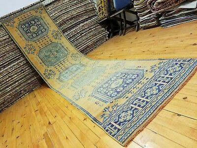 "Primitive Antique Cr1930-1939s Wool Pile 2'10""×12'1"" Muted Dye Oushak Runner Rug"