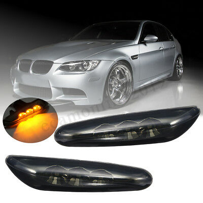 Black LED Side Marker Light Turn Signal For BMW E60 E61 E82 E88 E90 E91 E92 E93