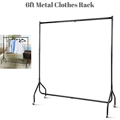 180cm Mobile Clothes Display Rail Hanger Garment Display Stand On Wheels Laundry