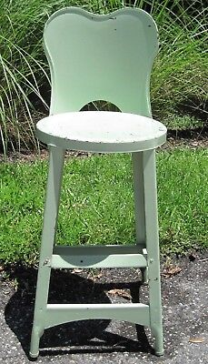 Vintage 1940's Child's Stool w/ Back - Chippy, Shabby, & Industrial