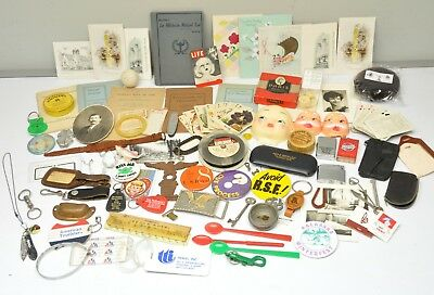 Vtg Junk Drawer Lot Lighters Photos Keychains Jewelry Buttons Advertisement Pins