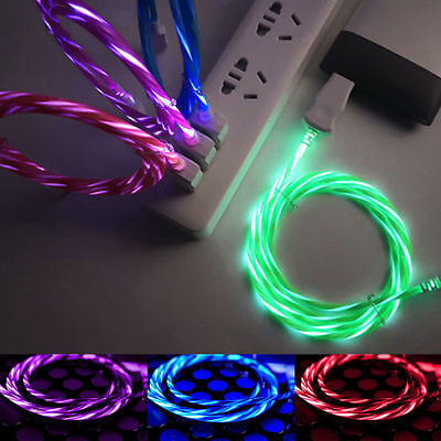 Flowing LED GLOW IN THE DARK USB Data Sync Android Micro & Type C Charge Cable