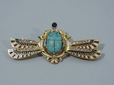 Egyptian Scarab Brooch - Antique Style Revival Pin - 14K & Enamel  C 1920