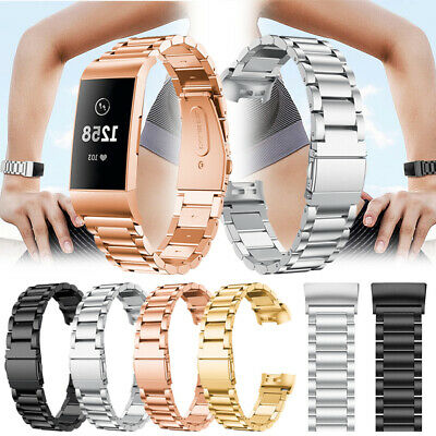 For Fitbit Charge 3 Replacement Stainless Steel Watch Band Metal Strap Bracelet