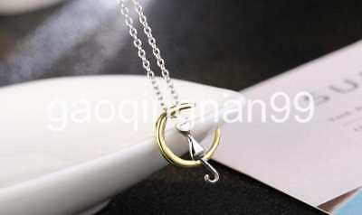 925 Sterling Silver plated Chain yellow Pendant Necklace Men Women Jewelry 45cm