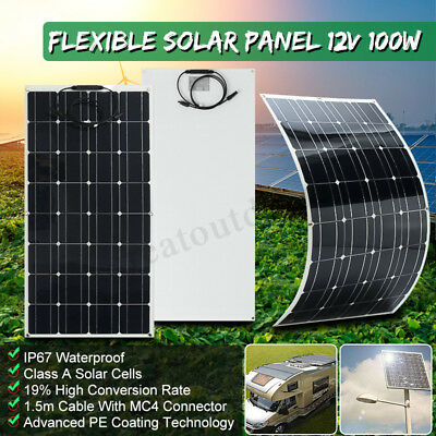 Mono 100W 18V Solar Panel Flexible Battery Charger For 12V Motorhome Boats Roof