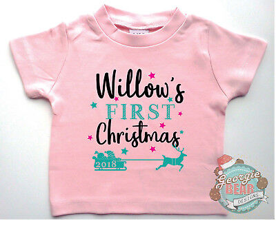 My First Christmas, 2018. Custom print baby T-shirt. Pink or Blue