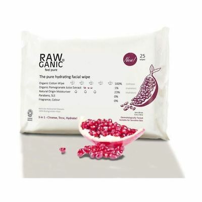 Rawganic The Pure Hydrating Facial Wipe Pomegranate x 25wipes