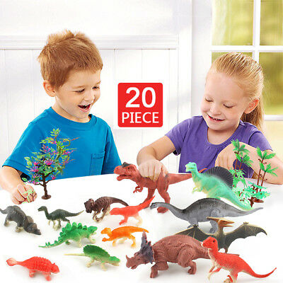 20 Pcs Dinosaur Playset Toy Animals Action Figures Set T Rex Triceratops for Kid