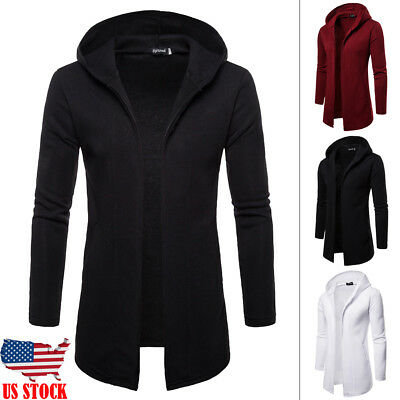 Men Casual Sweater Slim Fit Long Sleeve HoodedCardigan Trench Coat Jacket Suit