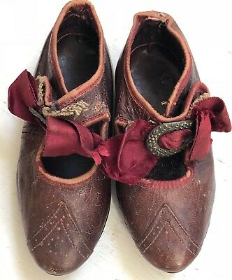 Gorgeous Victorian Antique Red Leather Child's Shoes Silk Ribbon & Buckles