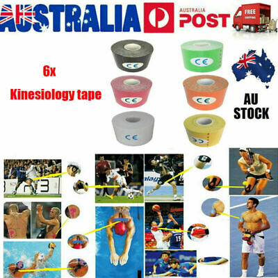 6 Rolls 5M Kinesiology Sport Muscle Care Tape Elastic Breathable Injury Support