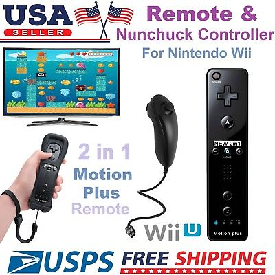 Black Motion Plus Remote and Nunchuck Controller + Case for Nintendo Wii WiiU