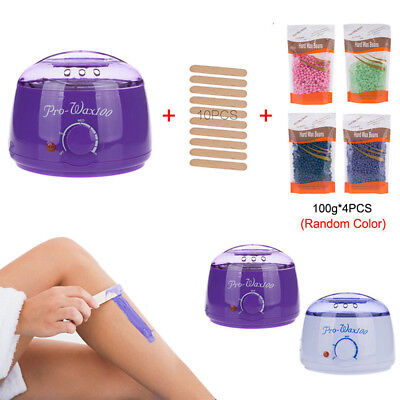Hair Removal Hot Wax Electric Warmer Waxing Kit + 400g Hard Wax beans + 10 Stick