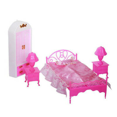 Doll House Miniature Furniture Living Room Pink Bed Wardrobe For Barbie  UK
